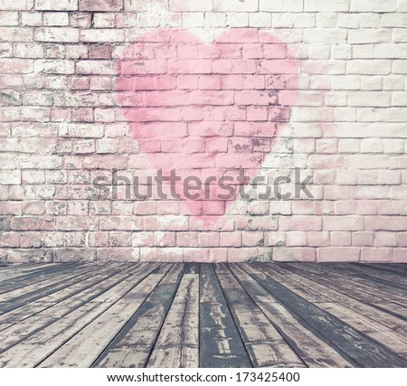 old room with brick wall graffiti heart, valentines day background