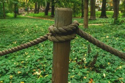 Old rope tied in a knot, outdoor