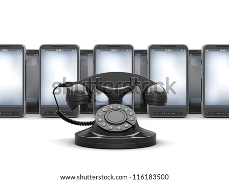 Old rotary phone and modern cell phones