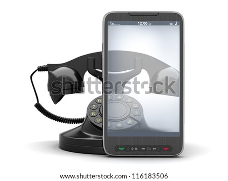 Old rotary telephone and modern cell phone - concept illustration