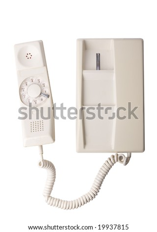 Old rotary telephone isolated on white with clipping path