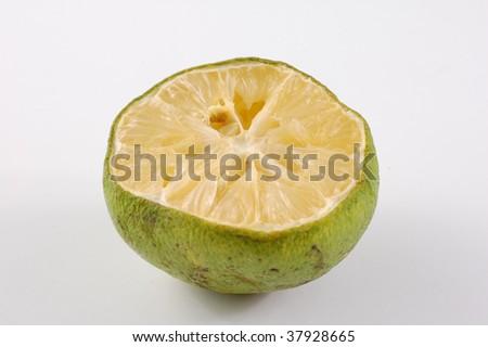 old rotten lemon in white background