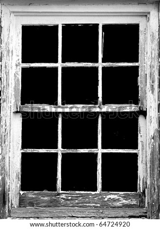 old rotting window frame, toned to black and white