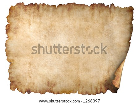 Old rough antique horizontal parchment paper texture background isolated on white