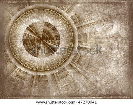 old rough antique parchment paper scroll with project of a mechanism , texture background isolated on white