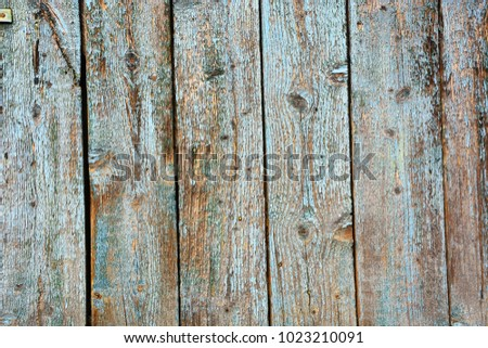 Old Rough Wood Surface Painted In Aqua Color