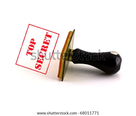 """Old rubber stamp with the word """"Top Secret"""""""
