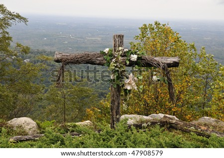 Old rugged cross on a mountain top in South Carolina