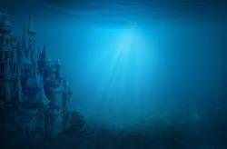 Old ruin castle under the sea. Atlantis theme concept.