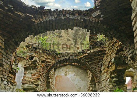 Old ruined castle arched room structure