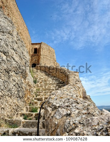 Old ruined castle in  Morella town, Spain. Bottom view.
