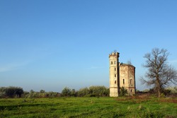 old ruined castle with tower landscape