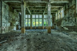 Old ruined factory building, awesome background