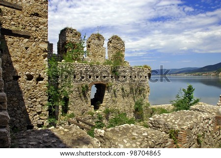 old ruined Golubac fortress on Danube in Djerdap national park, Serbia
