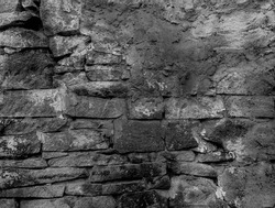 Old ruined historic protect wall. Shabby bumpy built front facade citadel. Worn damaged deserted partition of church courtyard. Black white chipped spots stone mansion backyard. Grungy gray barrier 3d