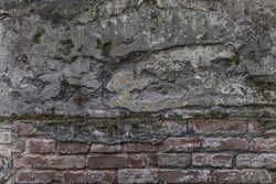 Old ruined protect wall. Shabby bumpy front facade citadel. Worn damaged deserted partition of church courtyard.  Cracked cement, messy chipped stone, spots mansion backyard. Grungy gray barrier 3d