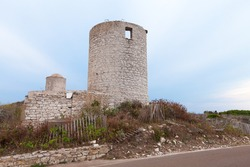 Old ruined stone fortress tower. Bonifacio, Corsica island, France