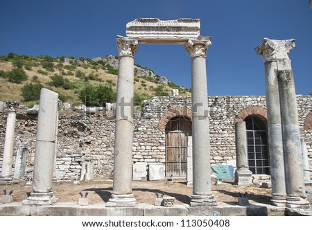 Old Ruined Town of Ephesus. Turkey (Efes) - stock photo