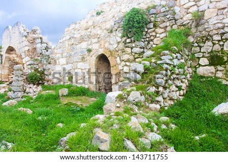 Old ruins of Crusaders fortress in Israel