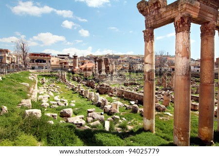 Old Ruins of Juniper Temple. Roman Columns in Baalbeck, Lebanon