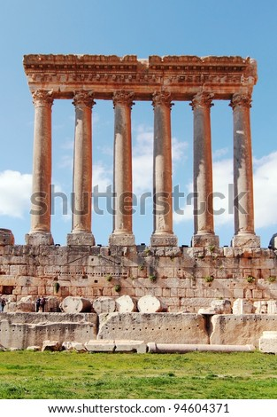 Old Ruins of Jupiter Temple. Roman Columns in Baalbeck, Lebanon