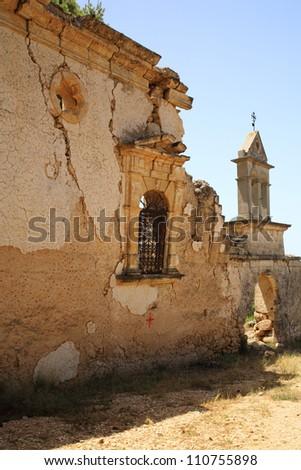 Old ruins of Sassia Monastery Kefalonia Greece