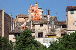 Old rundown buildings and houses in Cuenca in the La Mancha region of central Spain.