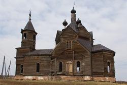 Old russian abandoned church in Siberia Krasnoyarsk