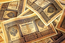 Old Russian tsarist paper money. Beautiful retro background with 1 ruble bills.