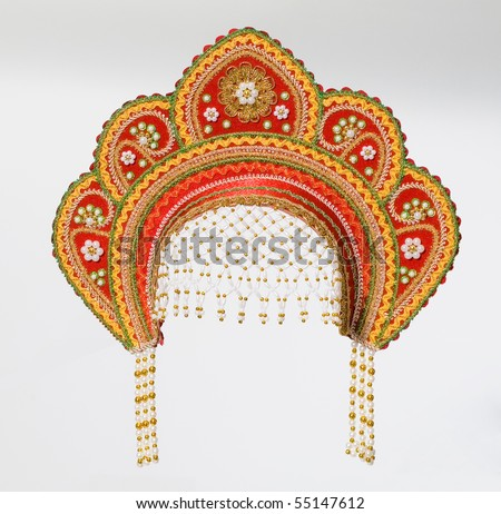 old Russian woman's headdress.traditional decoration.piece of clothing.