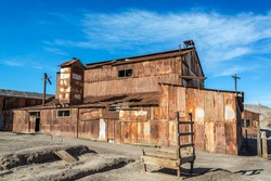 Old rusted building in the UNESCO World Heritage ghost town of Humberstone, Chile
