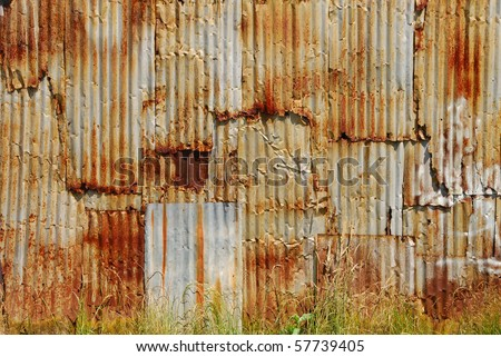 Old rusted corrugated metal wall on a building in the old town of Oakland Oregon