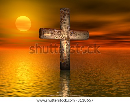 Old rusted cross on open sea - digital illustration