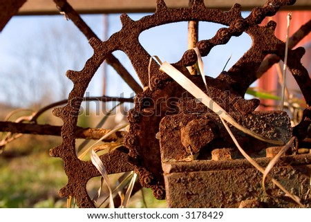 old rusted hand plow