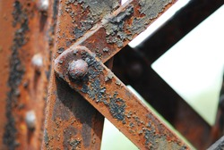 old rusted steel - rusty metal texture / rust texture, Big rusty metal nuts locked with rust and corrosion bolts