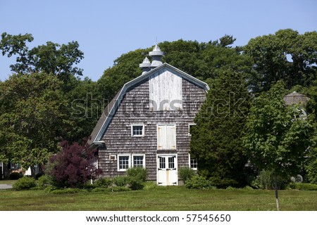 Old rustic barn at  Bayard Cutting Arboretum State Park, Long Island, New York. - stock photo