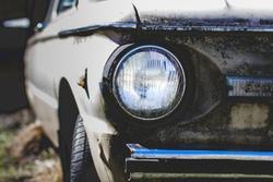 Old rustic car headlight