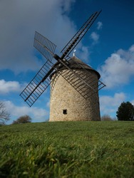 Old rustic historic windmill building on a hill Mont Dol moulin Dol de Bretagne Saint Malo Ille et Vilaine Brittany France Europe