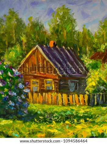 Old rustic house rural painting with oil. Summer country landscape, sunny green trees, flowering grass, lilac bushes. Old architecture painting. Palette knife impressionism artwork illustration art