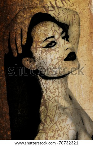 old rustic orange wall with a graffiti illustration of a woman's face.