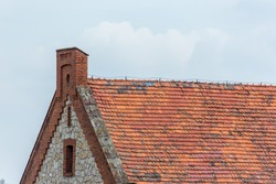 Old rustic roof on the old building