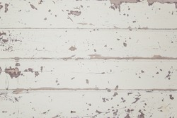 Old rustic white wood table background texture (Cold), 4 panel old retro painted tabletop. Decrepit chipped paint.