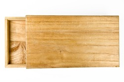 Old rustic wooden box - isolated on white