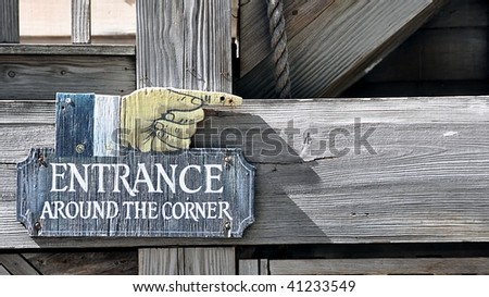 Old Rustic Wooden Entrance Sign