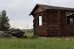 Old Rustic Wooden Shack on Rural Country Road
