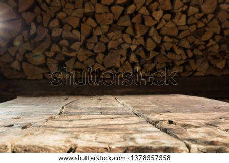 OLD RUSTIC WOODEN TABLE BACKGROUND, BACKDROP FOR MONTAGE OR DISPLAY PRODUCTS OR FOOD AND DRINKS #1378357358