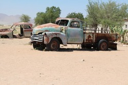 old rusty abandoned truck in solitaire in namibia