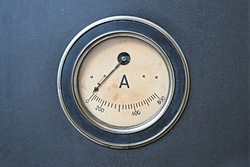 Old rusty ampere meter unit