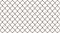Old rusty and weathered mesh fence, isolated against the white background.