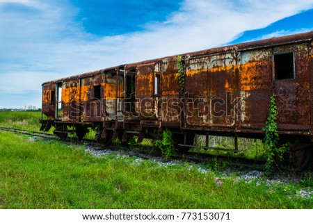 Old rusty and worn train #773153071